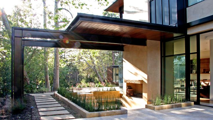 covered spacePatios Design, Studios Williams, Modern Patios, Williams Hefner, Modern Architecture, Brentwood Resident, Hefner Architecture, Outdoor Spaces, Fire Pit