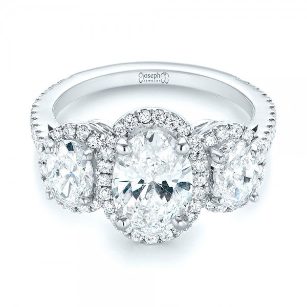 4b07a9c1fd49 Custom Three Stone Diamond Halo Engagement Ring. Anillos De Compromiso ...