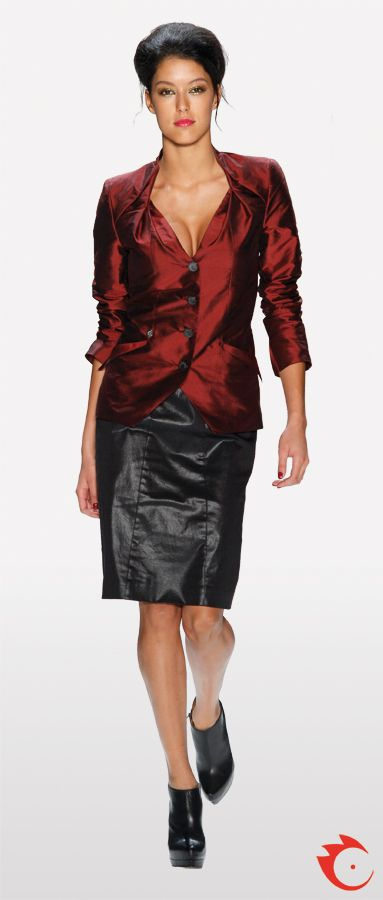 anja gockel fancy black fake leather skirt in combination with a stylish red blazer