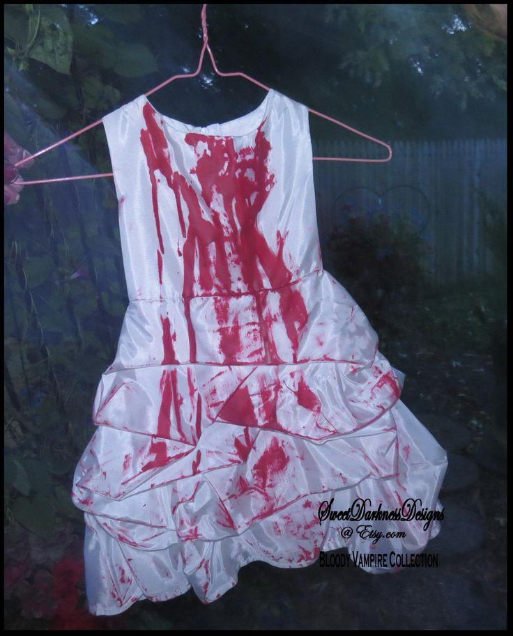 GIRLS VAMPIRE COSTUME Bloody Vampire Costume Bloody Flower Girl Dress Baby's SiZE 18 MoNTHS by SweetDarknessDesigns by SweetDarknessDesigns on Etsy
