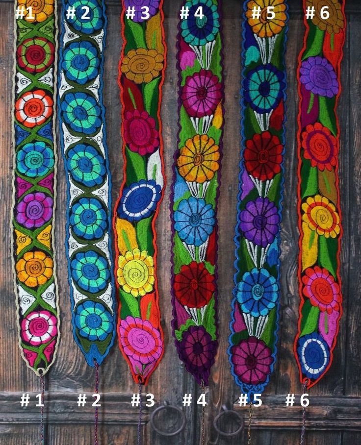 Group 2 Floral Mexican Belts / Sash many colors, Wrap Around Hippie Boho Peasant #Handmade #Wrap