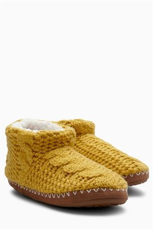 Buy Ochre Cable Knit Slipper Boots from the Next UK online shop
