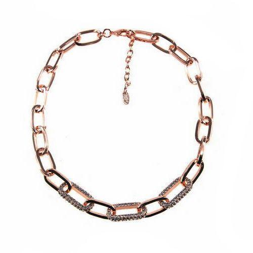 Moderne Halsketting.Roos goudkleurig met witte steentjes. Lengte: Verstelbaar 44cm tot 48cm.