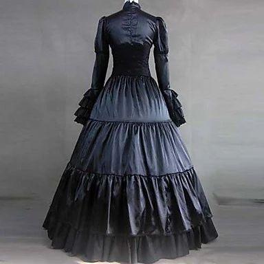 Платье атлас длинный рукав, минимальный уровень пола черный и хлопок аристократ готическая лолита