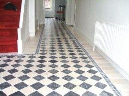 Zwart-wit-tegels - Dambord vloer - beige marmer - hardsteen - 10x10