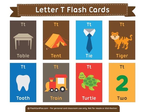 Free printable letter T flash cards. Download them in PDF format at http://flashcardfox.com/download/letter-t-flash-cards/
