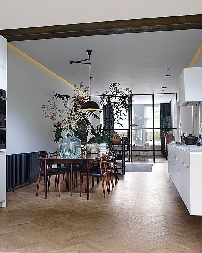 Amsterdam loft with open dining room and succulents between spaces    Nemo pendant light by Franco Albini