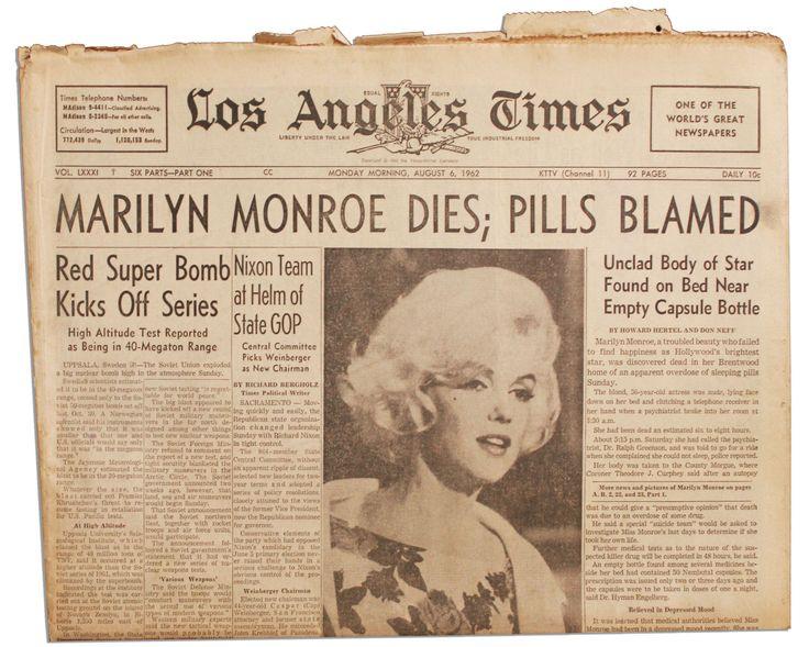 Marilyn Monroe dies; pills blamed | Historical Headlines ...