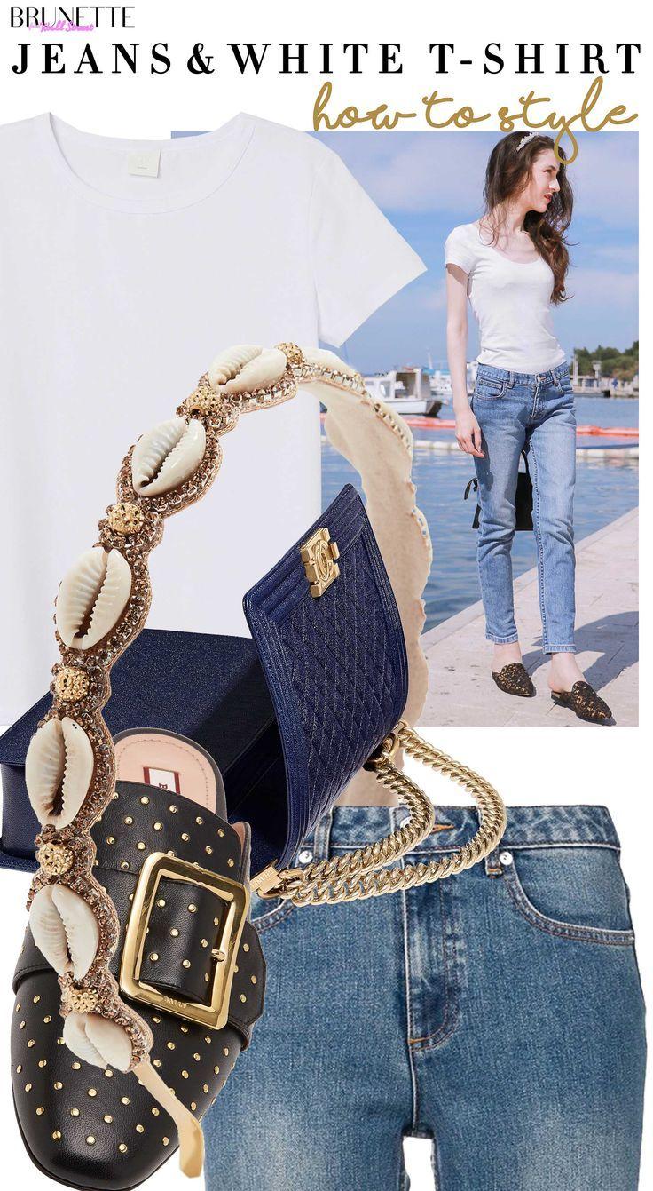 Wie man im Jahr 2019 Blue Jeans und weißes T-Shirt stylt