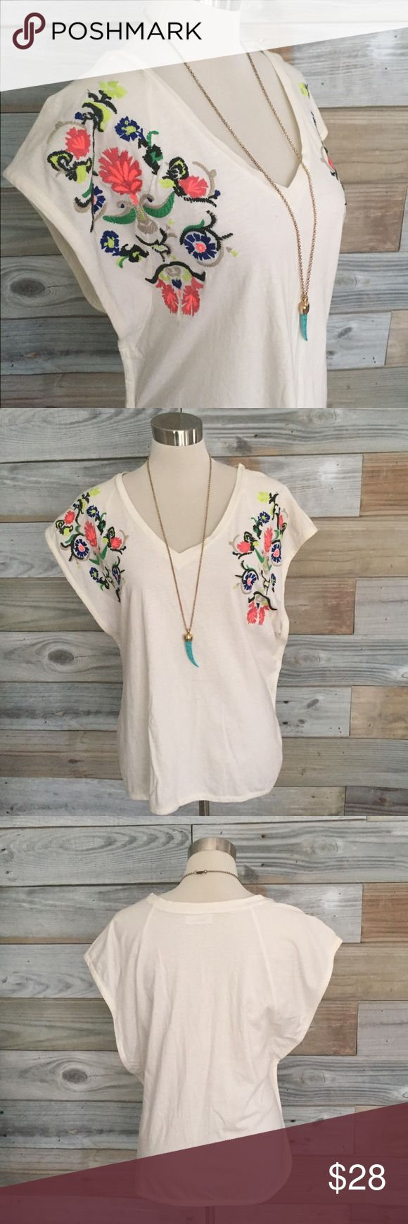 """{Tart} Embroidered Oversize Dolman Favulous oversized dolman top with AMAZING colorful floral & vine embroidery completely covering both sleeves & partially across chest placket. Oversize """"boyfriend"""" style cut with wide set & low hanging dolman armholes, made to be worn a little slouchy--so bohemian & pretty; embroidery enough; you don't need tons of jewelry...just your favorite jeans! **Please note--TINY (as in, borderline microscopic) hole in upper left chest area. See photo 4-easy fix…"""