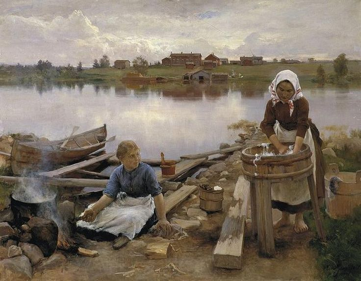 Eero Jarnefelt, Laundry at the river bank,  1889.