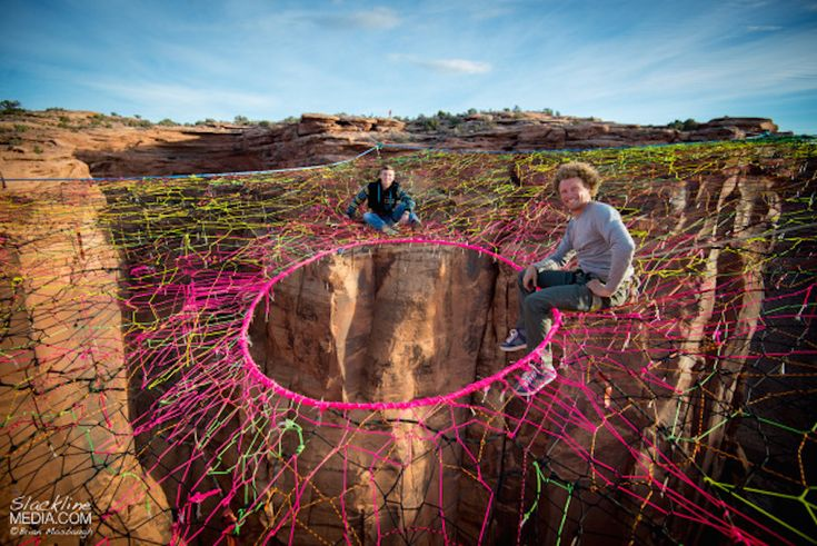 (Courtesy Slackline Media) A hammock suspended 400 feet above ground in Utah's Moab Desert has become an aerial playground for the professional base jumper