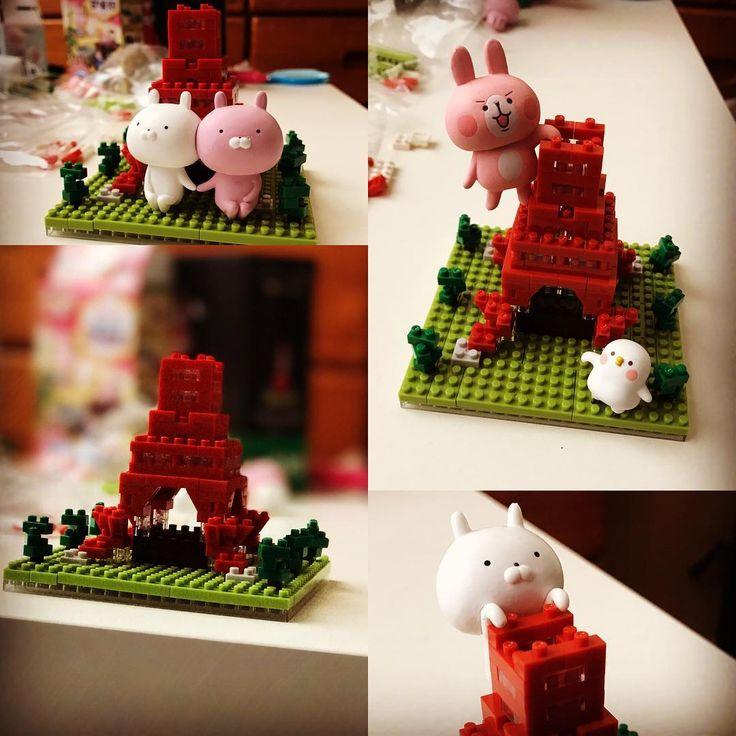 もう少し☺️ ナノブロック大変w #ナノブロック #東京タワー #うさまる #カナヘイ #カナヘイの小動物 #cute #kawaii #usamaru #kanahei #nano #nanoblock #tokyotower #tokyo #japan