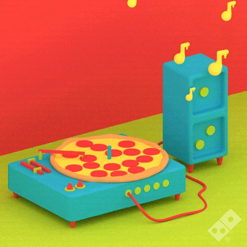 Hot GIF music animated food pizza spin feelings record tasty dominos greatness julian glander pizza love tunes gifeelings