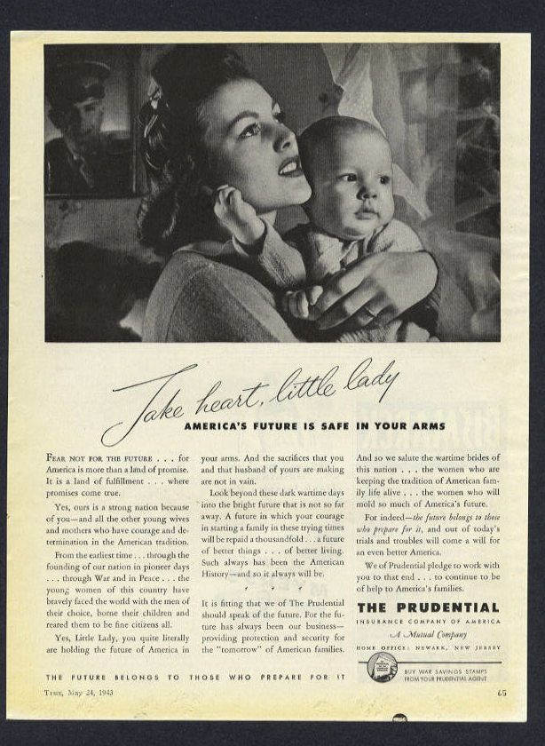 1943 The Prudential Insurance Company Mother And Baby Vintage