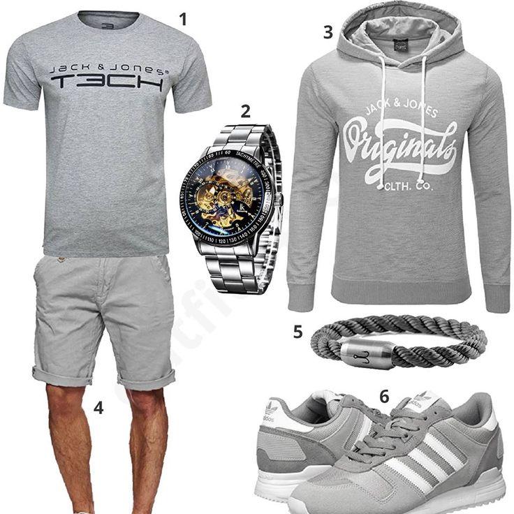 Graues Outfit mit Jack & Jones Shirt und Hoodie (m0514