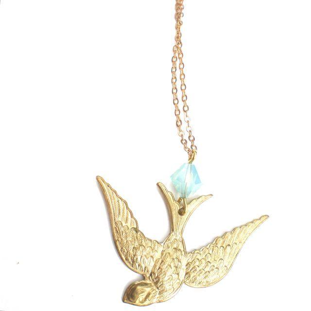 Boho Swallow Brass Chain Pendant Choker Swarovski Pacific Opal made in Sydney by Etelage shop online www.etelage.com