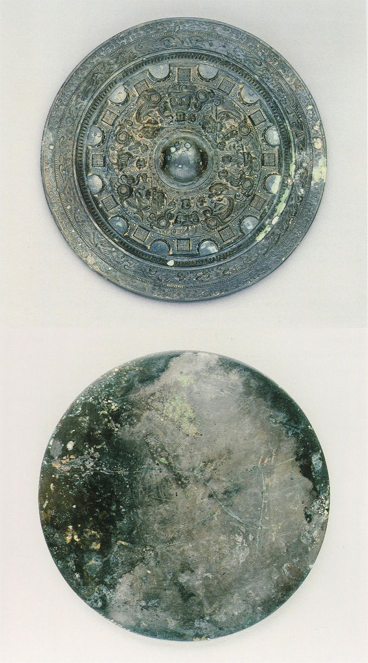 China - Bronze mirror with pictorial band, semicircles, squares, four divine beast and four animal design, Three Kingdoms period, 220-65 AD