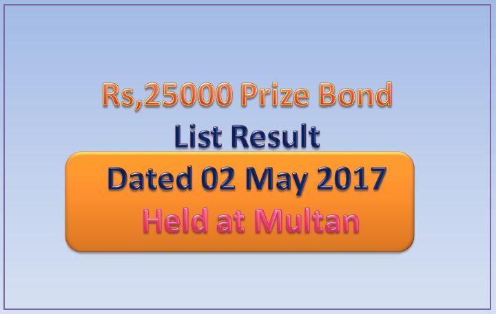 Rs,25000 Prize Bond Draw Full List  Result 02 May 2017 Multan http://mobiledady.com/25000-prize-bond-list-result-may-2017/