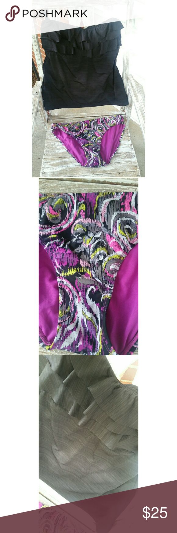 Mossimo Swimsuit Tankini & Bikini Bottom XL Brand New - No tags.  Never worn. Mossimo Black ruffled strapless tankini top and black/pink/purple bikini bottoms. Super cute!! Mossimo Supply Co. Swim