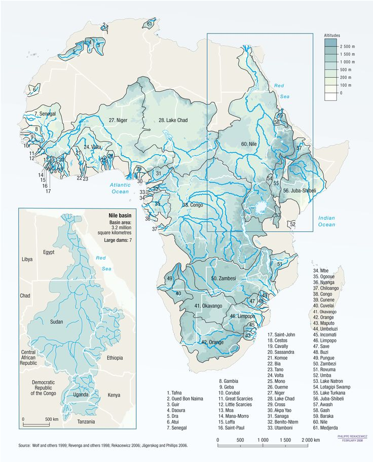 Africa's rivers and lake basins cross many borders - Vital Water Graphics