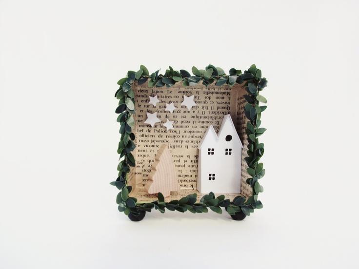 3D shadow box frame -A christmas harvest house- with a light