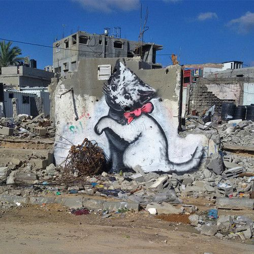 Dlaczego Banksy maluje małe kotki w Strefie Gazy