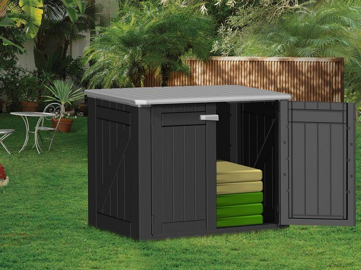 Opbergbox voor tuinkussens in de kleur antraciet en grijs