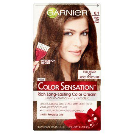 Garnier Color Sensation 6.1 Light Ash Brown Permanent Haircolor, one application