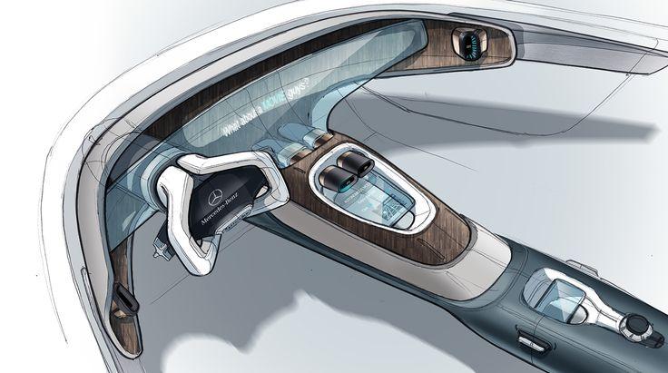 Mercedes interior doodles on Behance