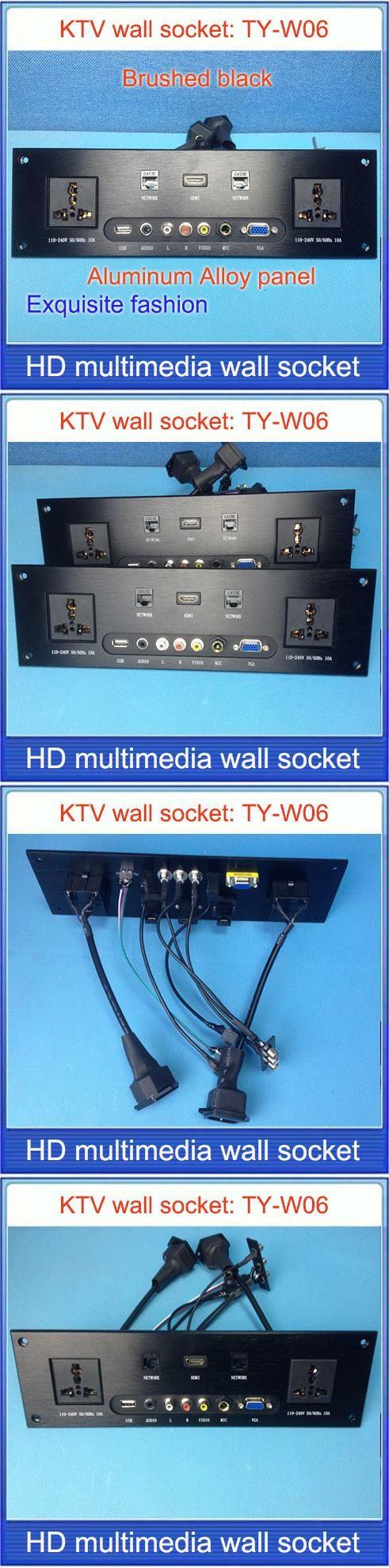 wall socket \ HD HDMI \ VGA USB NETWORK  RJ45 Video information outlet panel /multimedia home hotel rooms KTV wall socket TY-W06