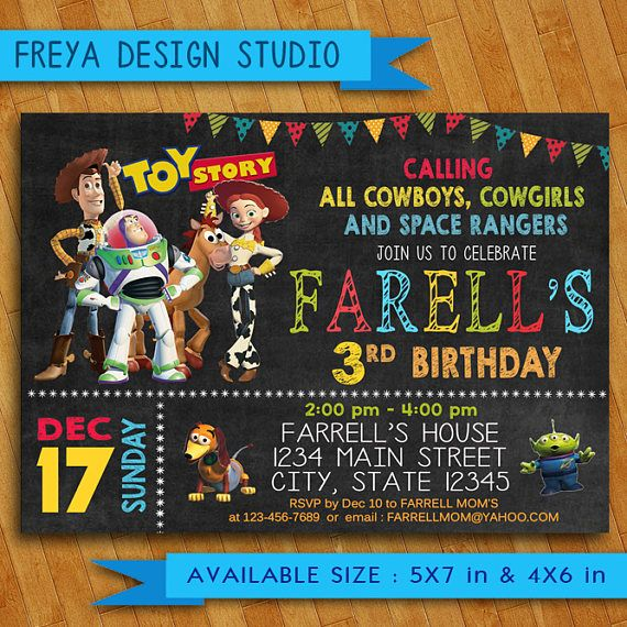 Toy Story Invitation Toy Story Invites Toy Story Birthday