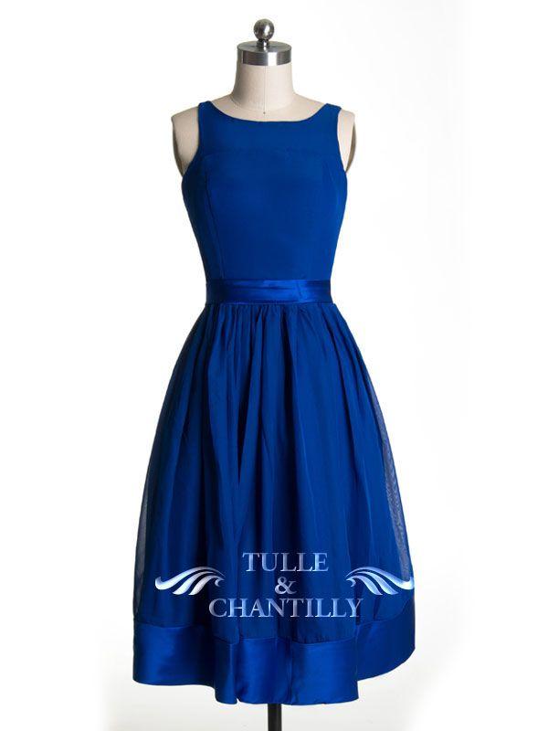 Modest Bateau Neckline Tea Length Blue  Bridesmaid Dress