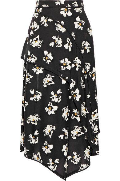 Proenza Schouler | Layered Printed Crepe Midi Skirt