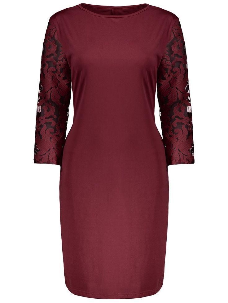 Plus Size Lace Insert Bodycon Dress #hats, #watches, #belts, #fashion, #style