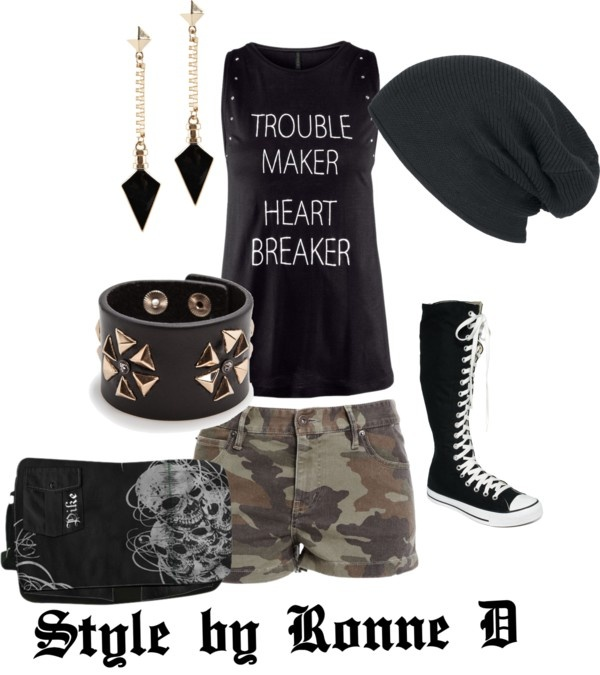 """""""She was a Skater Girl"""" by style-by-ronne on Polyvore Even though I never wear shorts why not"""