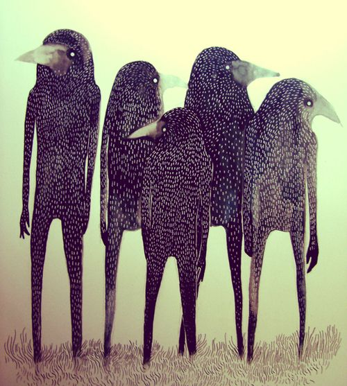 birds: Paintings Art, Long Legs, Families Gatherings, People Illustrations, Birds Art, The Artists, Murders, Crows, Ravens