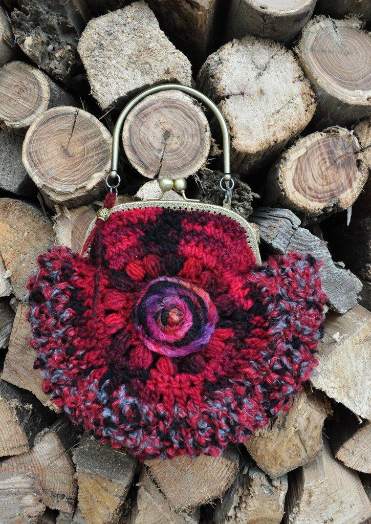 Borsetta di lana rossa Bag wool crochet