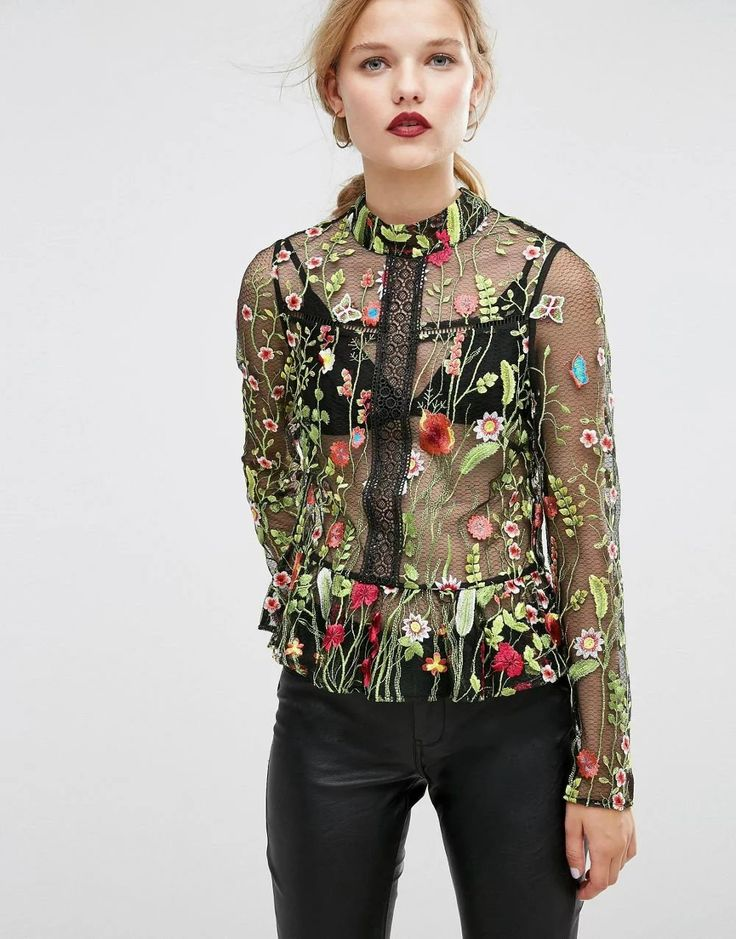 Sexy Transparent Chiffon O-Ncek Long Sleeves Floral Embroidery shirts 2017 Women Workout Tops P8945