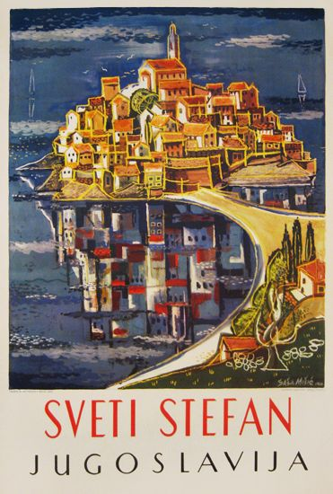 Sveti Stefan Montenegro (ex Jugoslavija) vintage travel beach poster, Sasa Misic, 1960 - www.varaldocosmetica.it/en