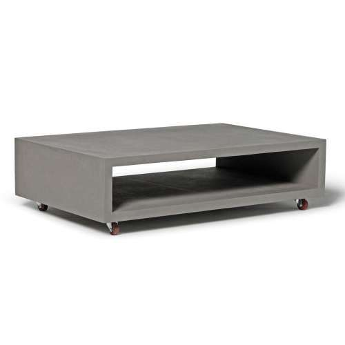 table on wheels. monobloc rectangular coffee table with wheels on o