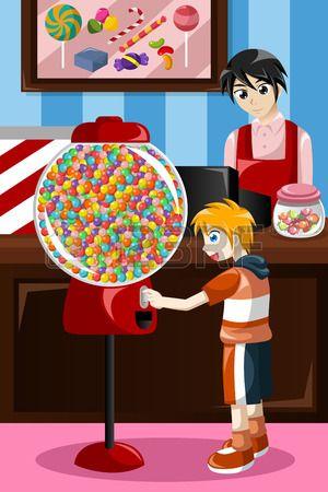 illustration de gosse acheter des bonbons � partir d'un distributeur automatique photo