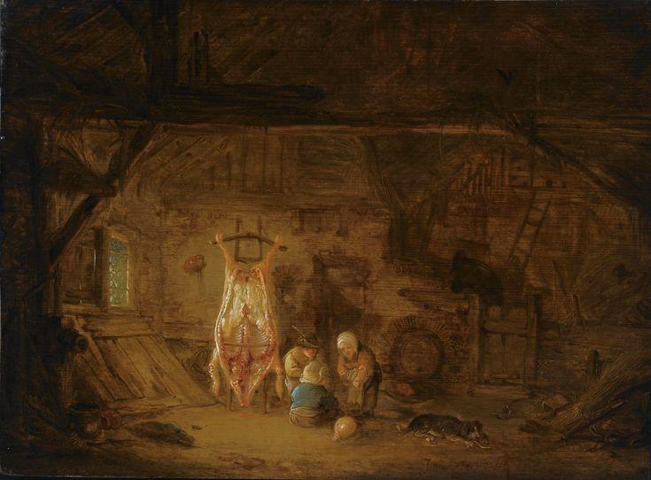 Isaac van Ostade - Schuur Interieur met drie kinderen die met een varkensblaas spelen