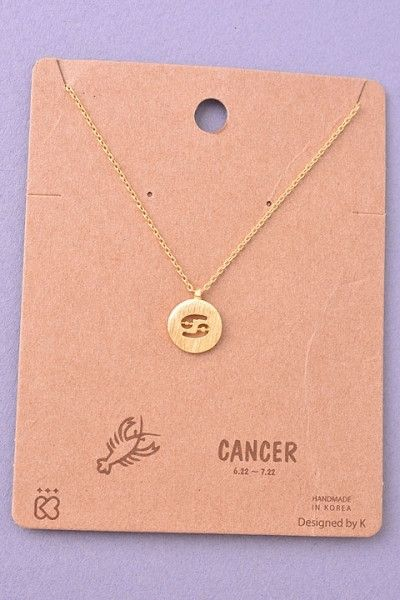 Details: Dainty Circle Coin Cancer Zodiac Symbol Necklace - Gold or Silver – H.C.B.