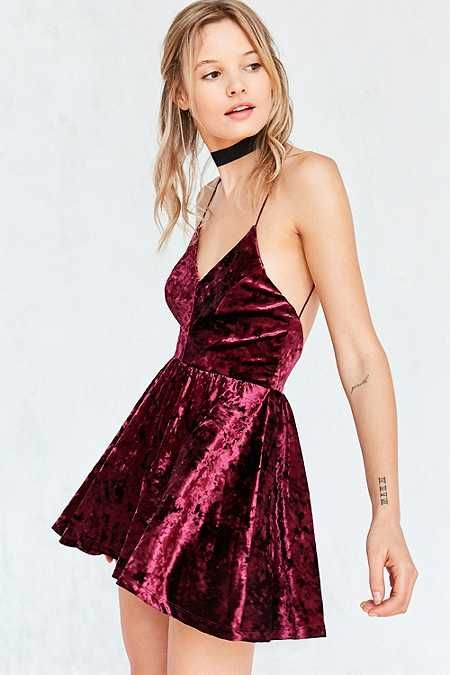 Silence + Noise Vanessa Crushed Velvet Fit and Flare Playsuit