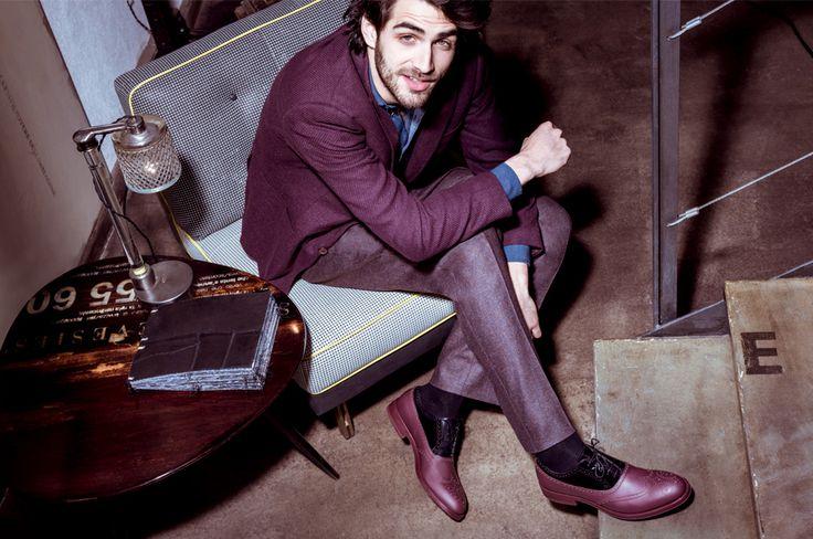 Alberto Guardiani FW1314 Man Ad Campaign #menswear #men #style #fashion #shoes #bordeaux #industrial