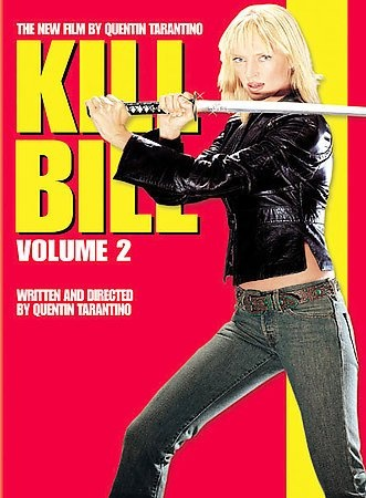 Kill Bill Vol. 2 [PN1995.9.A3 K5 2004]  	The Bride continues on her deadly pursuit of her former partners in the Deadly Viper Assassination Squad, who, in a furious assult, attempted to murder her and her unborn child on her wedding day. As the Bride faces off against allies-turned-nemeses Budd and Elle, she flashes back to the day of her deadly wedding. We learn how she was recruited and trained and about her relationship with Squad leader Bill.