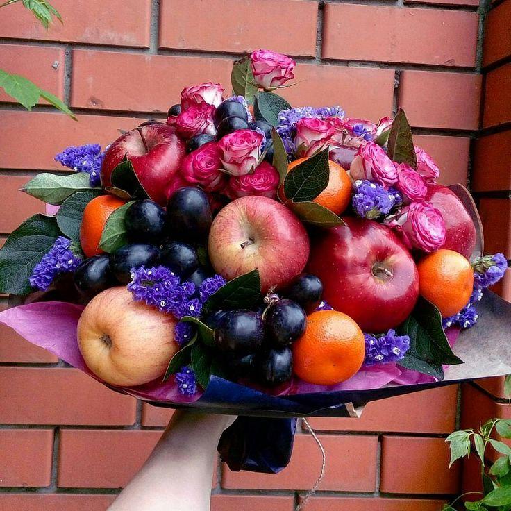 Французские букеты из цветов и фруктов, свадебные