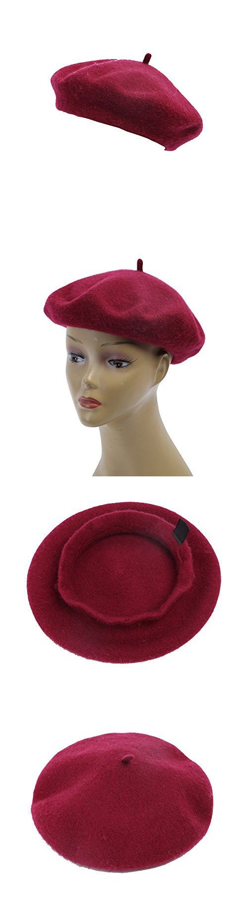 Women's 100% Wool Beret Hat Fashion Solid Color French Wine Red Berets