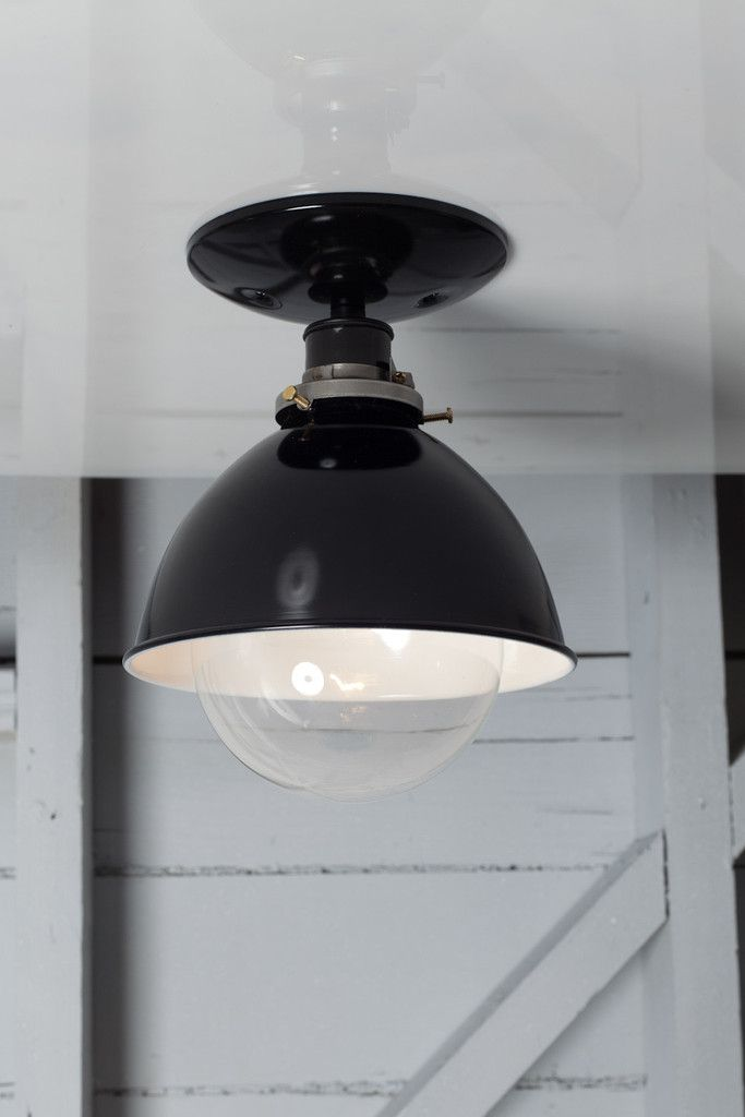 Industrial metal shade lamp semi flush mount